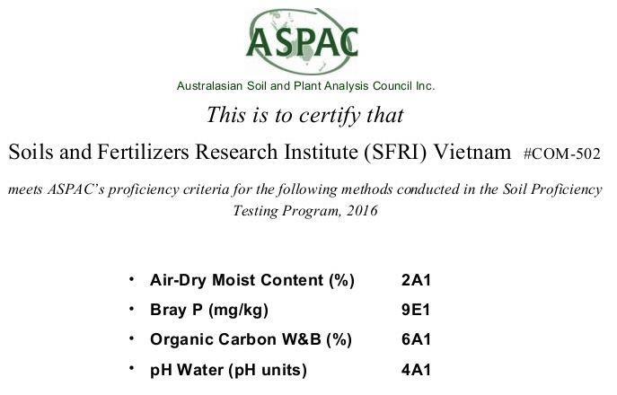 Chứng nhận đạt chuẩn trong thử nghiệm thành thạo Quốc tế của ASPAC