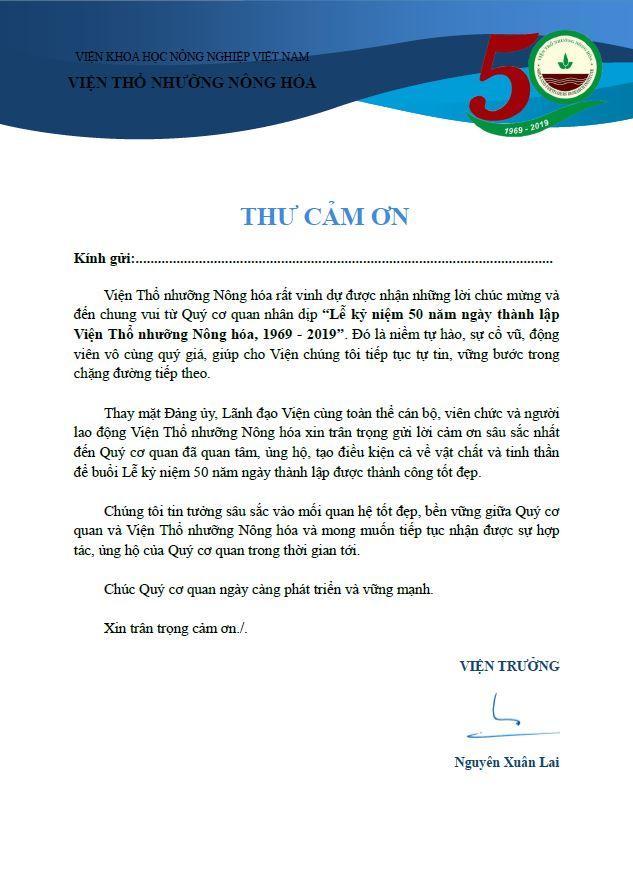 Thư cảm ơn của Viện trưởng Viện Thổ nhưỡng Nông hóa
